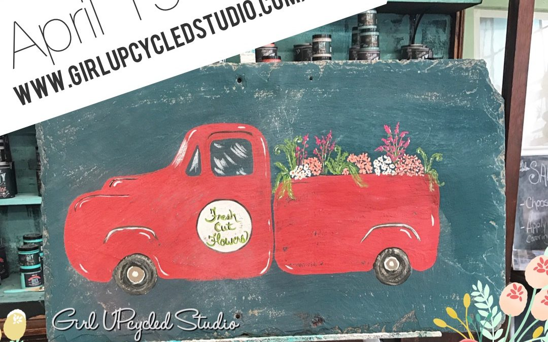 Fresh Flowers Vintage Truck painting