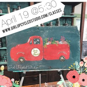 Fresh Flowers Vintage Truck painting @ Girl UPcycled Studio |  |  |